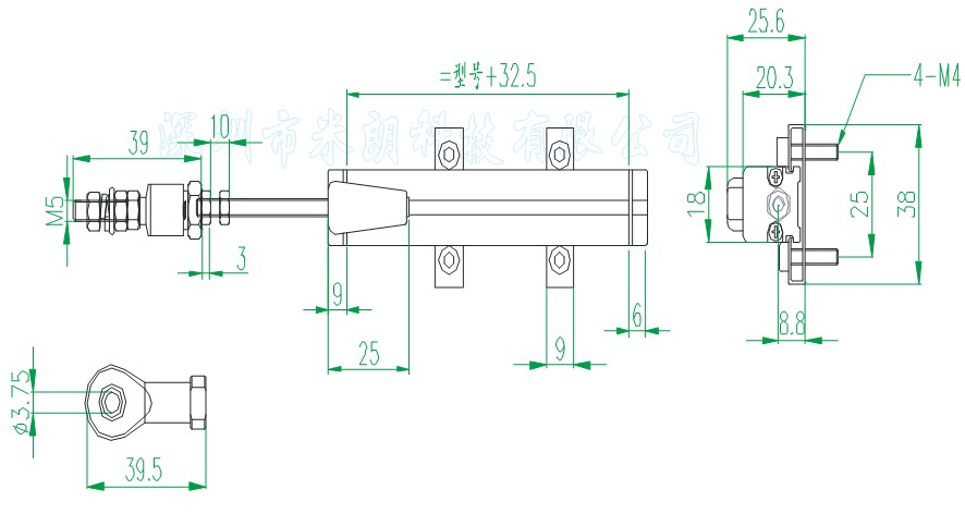 ktm是微型拉杆式直线位移传感器行程为0-300mm